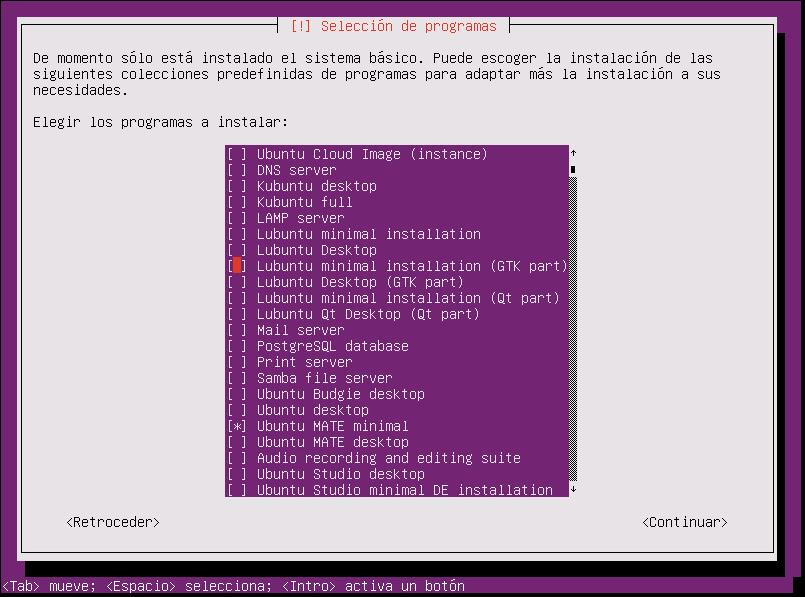 instalar ubuntu minimal 18.04 seleccion de programas