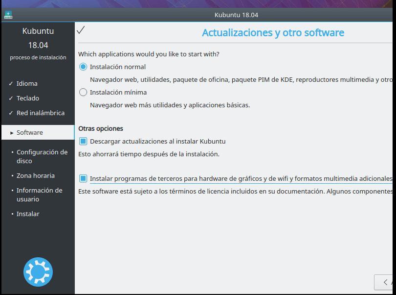 INSTALAR KUBUNTU 18.01 actualizaciones y otro software