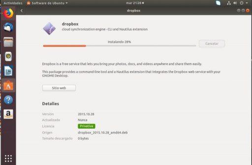 instalar dropbox en ubuntu 18.04 barra de progreso
