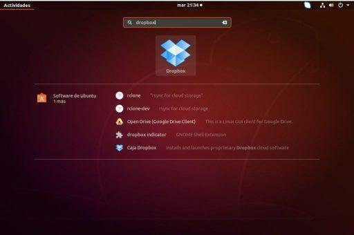 instalar dropbox en ubuntu 18.04 buscar icono