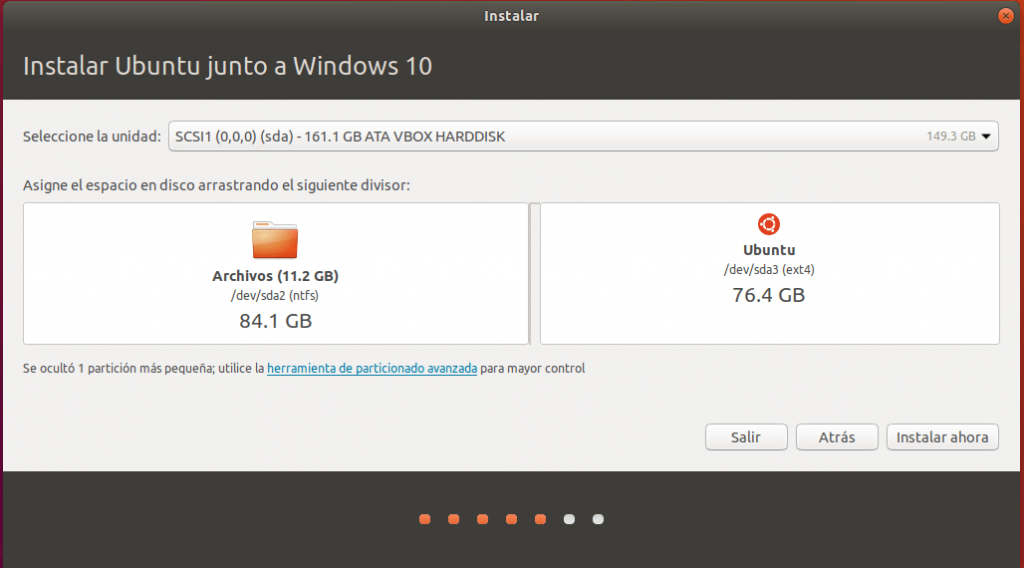 instalar ubuntu junto a windows 10 _ particion