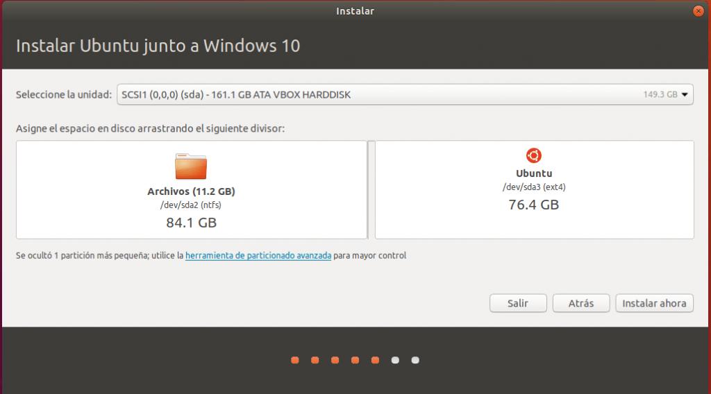 instalar ubuntu junto a windows 10 _ particion