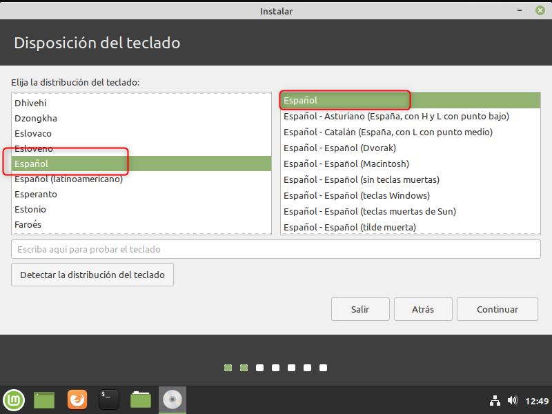 INSTALAR LINUX MINT DESDE USB DISPOSICIÓN DE TECLADO