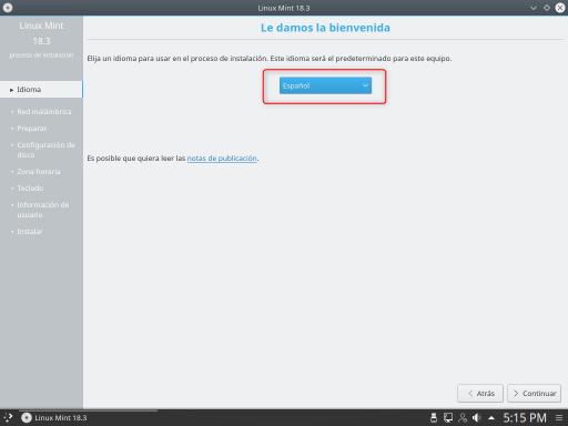 INSTALAR LINUX MINT 18.3 KDE selección de idioma