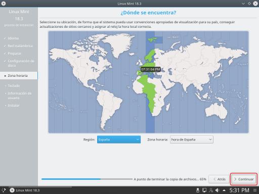 INSTALAR LINUX MINT 18.3 KDE zona horaria