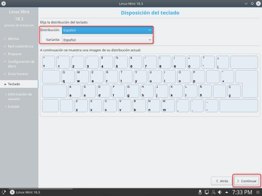 INSTALAR LINUX MINT 18.3 KDE disposición de teclado