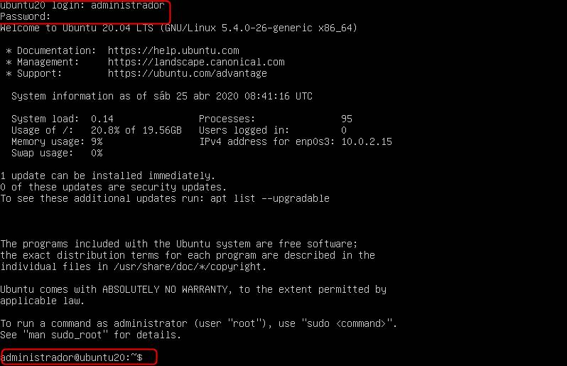 logarse en ubuntu server 20.04