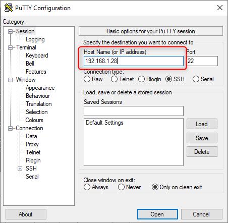 conexion putty ubuntu server 20.04