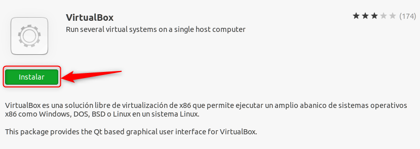 INSTALAR VIRTUALBOX DESDE SOFTWARE DE UBUNTU